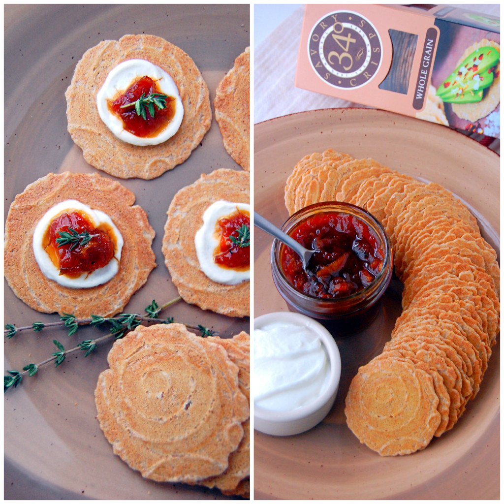 34 Degrees Whole Grain Crisps are paired with homemade California Citrus Marmalade (recipe included!), Greek yogurt, and thyme for a winter appetizer #ad