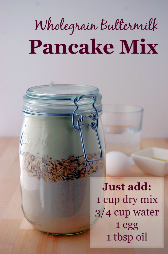 Mix up a jar of this Wholegrain Buttermilk Pancake Mix, and then all you need is a bit of water, an egg, and oil to make perfect pancakes.