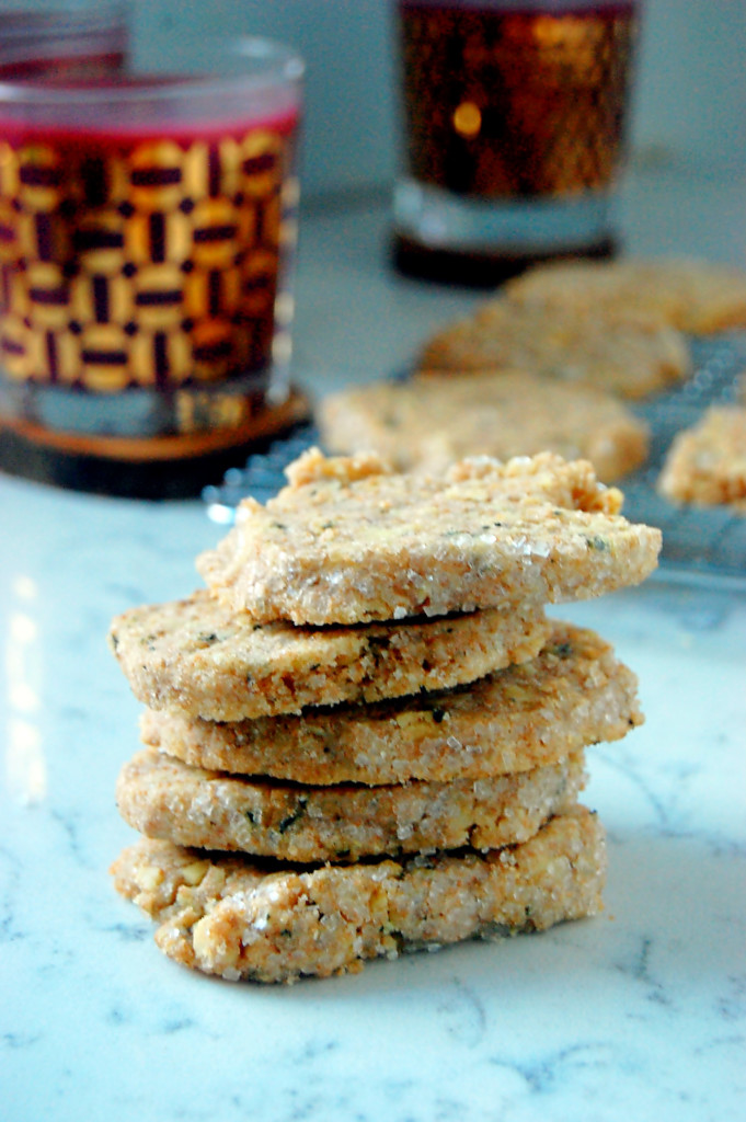 Walnut Basil Shortbread Cookies