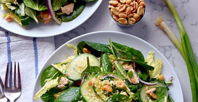 Supergreen Tuna Salad with Sesame Peanut Dressing