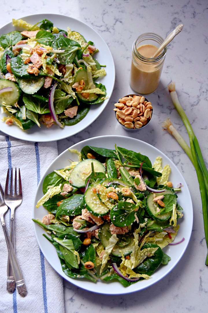 Supergreen Tuna Salad With Sesame Peanut Dressing Uproot Kitchen