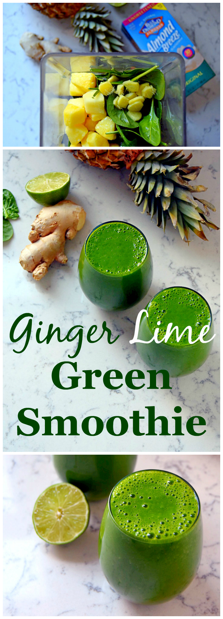 Ginger Lime Green Smoothie, perfect for beating that winter cold with citrus and tropical fruit. | (ad) uprootkitchen.com