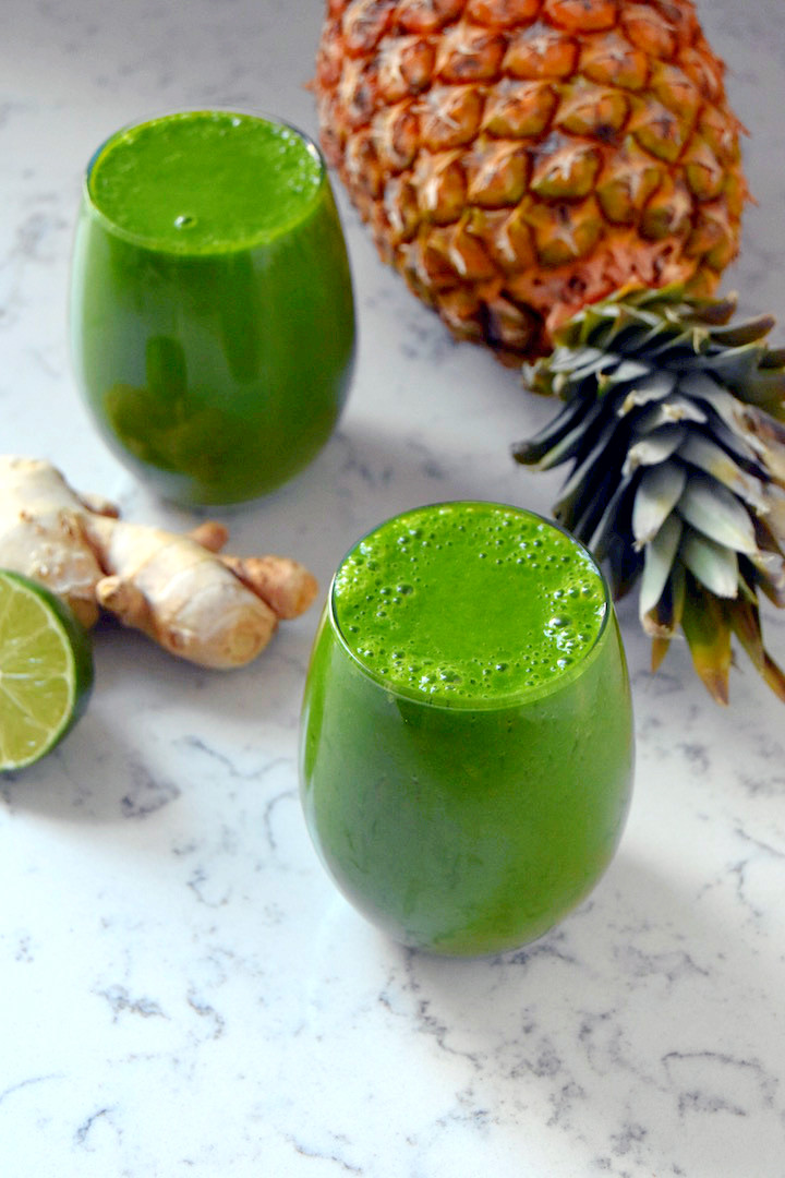 Pineapple Ginger Lime Green Smoothie | uprootkitchen.com
