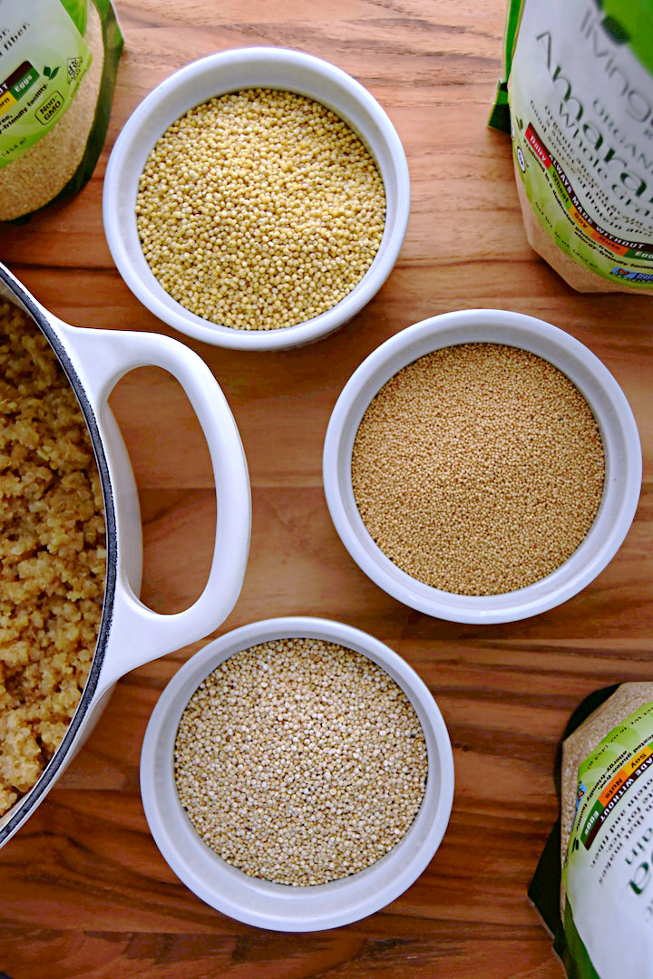 Quinoa, millet, and amaranth can be cooked together to make a great base for grain bowls (ad) | uprootkitchen.com