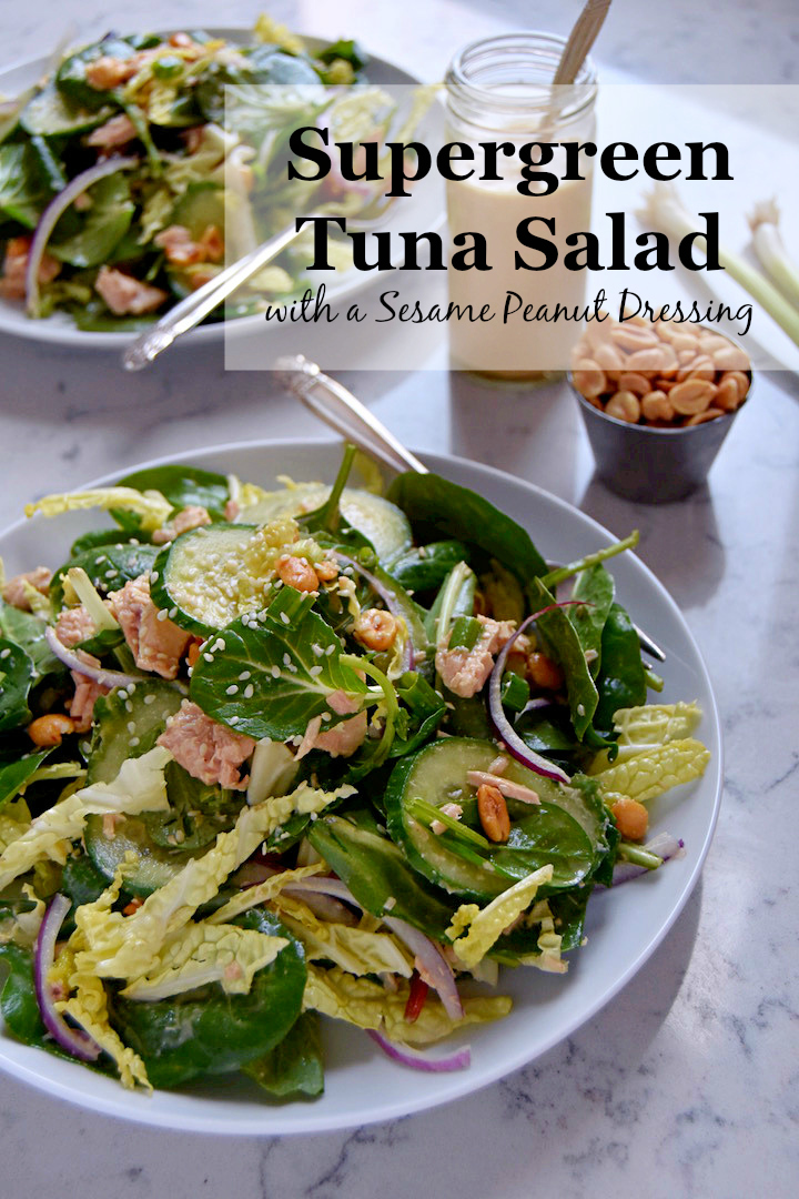 Supergreen Tuna Salad with a Peanut Sesame Dressing | uprootkitchen.com