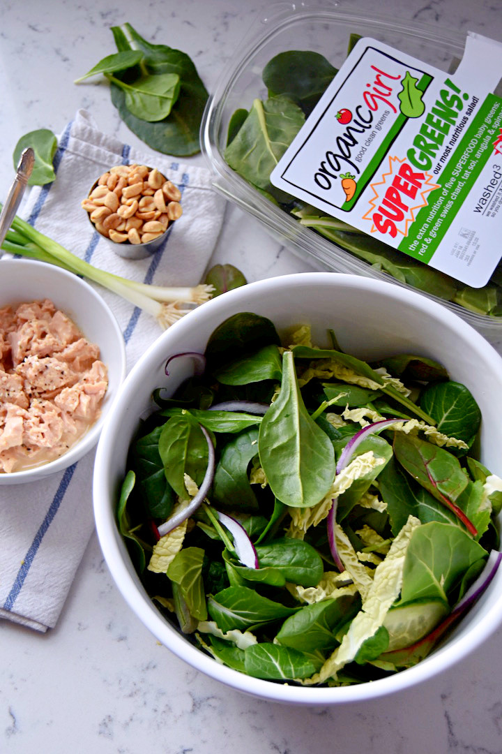 Supergreen Tuna Salad with a Sesame Peanut Dressing (ad) | uprootkitchen.com