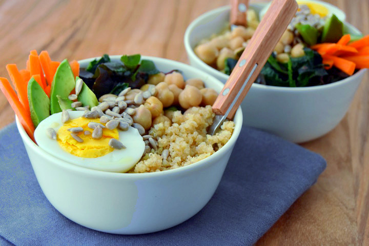 Wholesome Veggie Grain Bowls, a great base recipe to mix up with different sauces for packed lunches | uprootkitchen.com