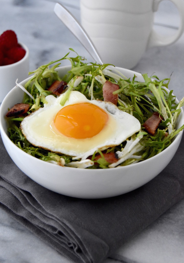 Frisée Breakfast Salad with Bacon and Eggs | uprootkitchen.com