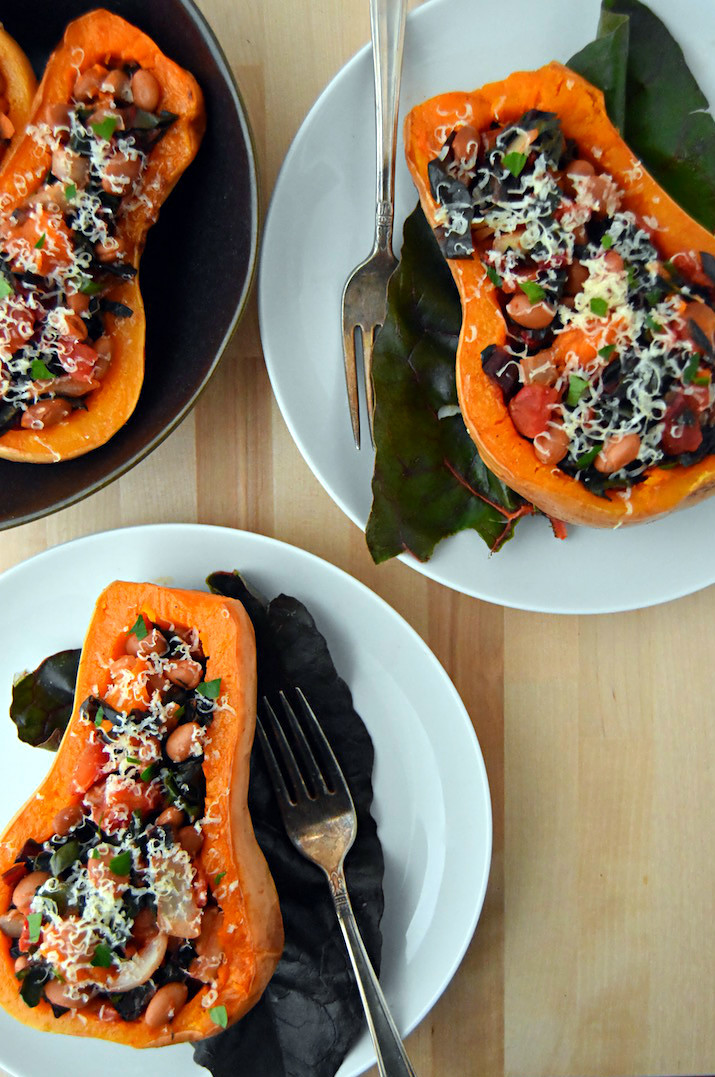 Mexican Stuffed Butternut Squash - bold vegetarian flavors meet creamy, sweet squash for a simple dinner. | uprootkitchen.com