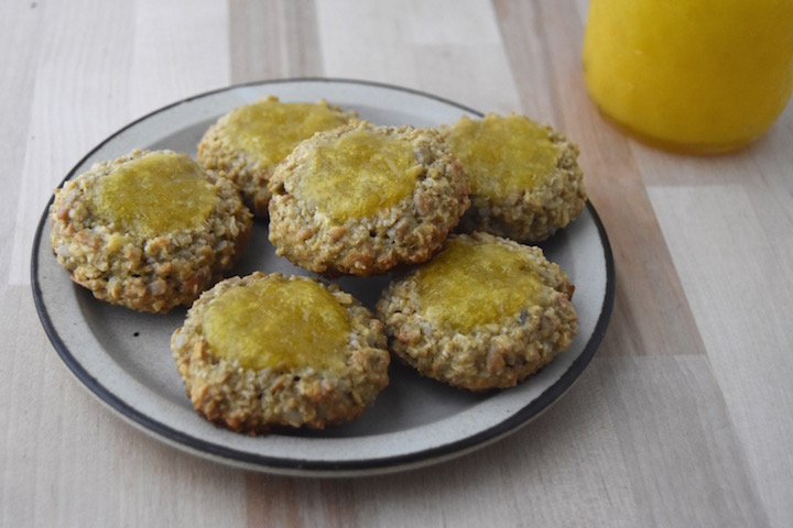 These Sunflower-Oat Thumbprint Cookies with Lemon Curd are nut-free, gluten-free, and dairy-free | uprootkitchen.com