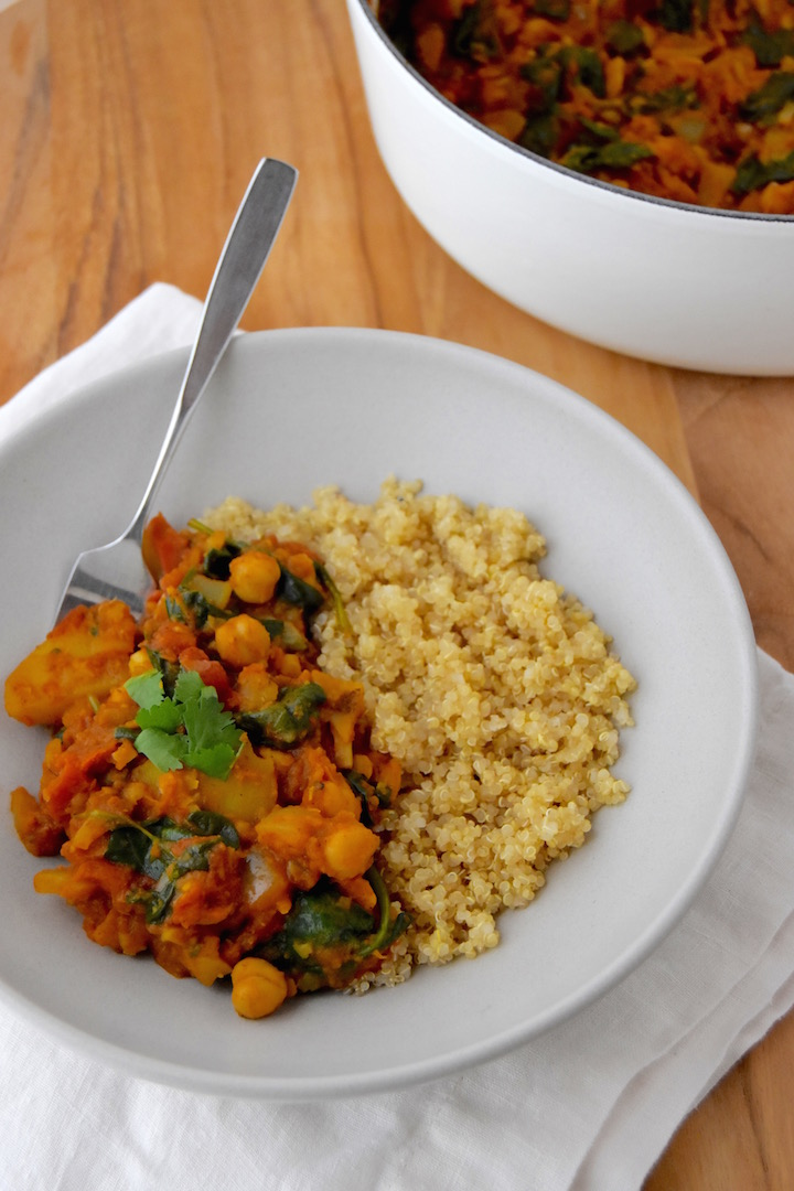 This Potato and Chickpea Curry is a great start if you're looking to make Indian curry at home. It's a filling and hearty plant-based dinner option. | uprootkitchen.com