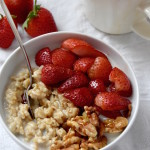 Maple Vanilla Oatmeal with Roasted Strawberries