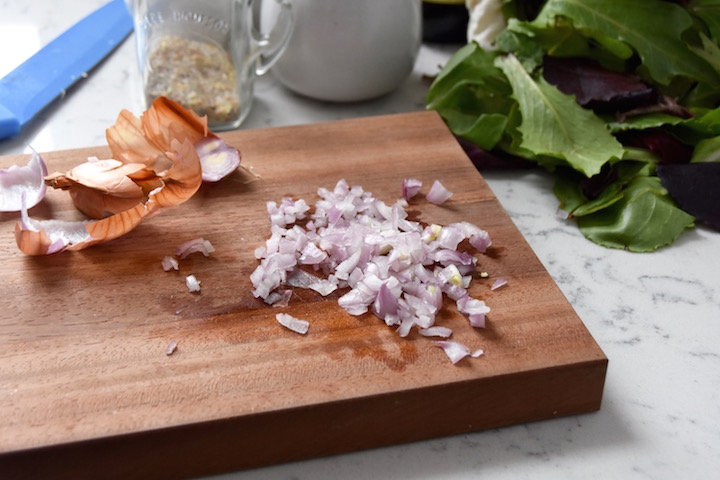 Chopping shallots for salad dressing | uprootkitchen.com