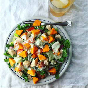 Dinner Salad with Tzatziki Dressing and Mandarin Black Tea Kombucha | uprootkitchen.com
