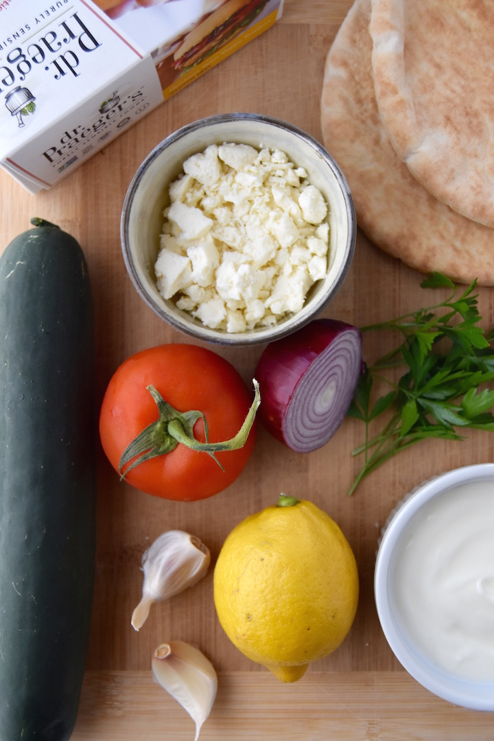 Ingredients for a Greek Veggie Pita Sandwich with Homemade Tzatziki | uprootkitchen.com