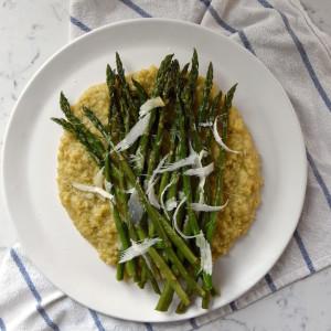 Parmesan Roasted Asparagus over Polenta | uprootkitchen.com