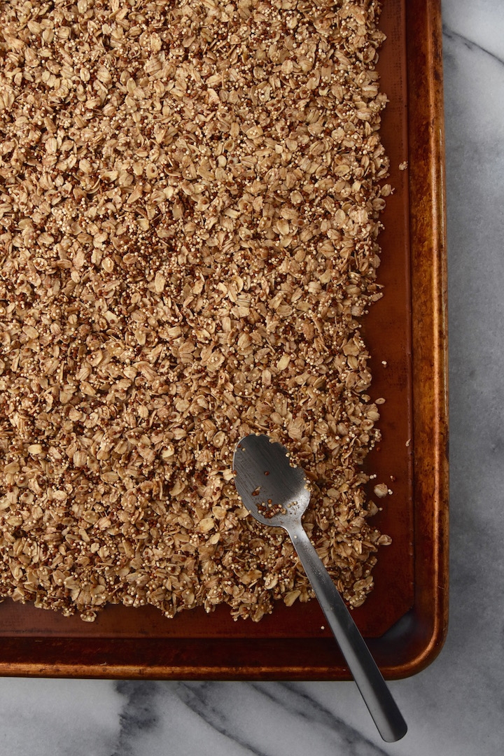 Quinoa Almond Crunch Granola before baking | uprootkitchen.com