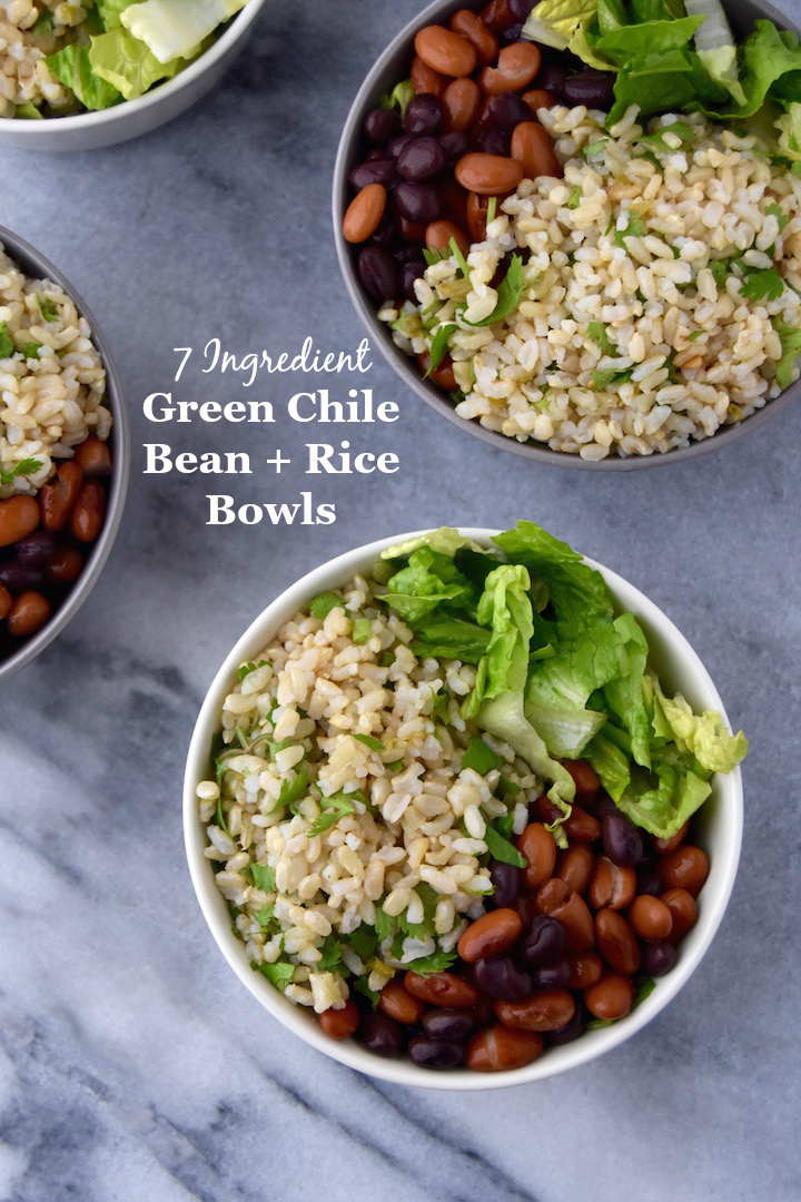 A simple meal to prep for the week, these Green Chile Bean and Rice Bowls require just 8 ingredients plus toppings! | uprootkitchen.com