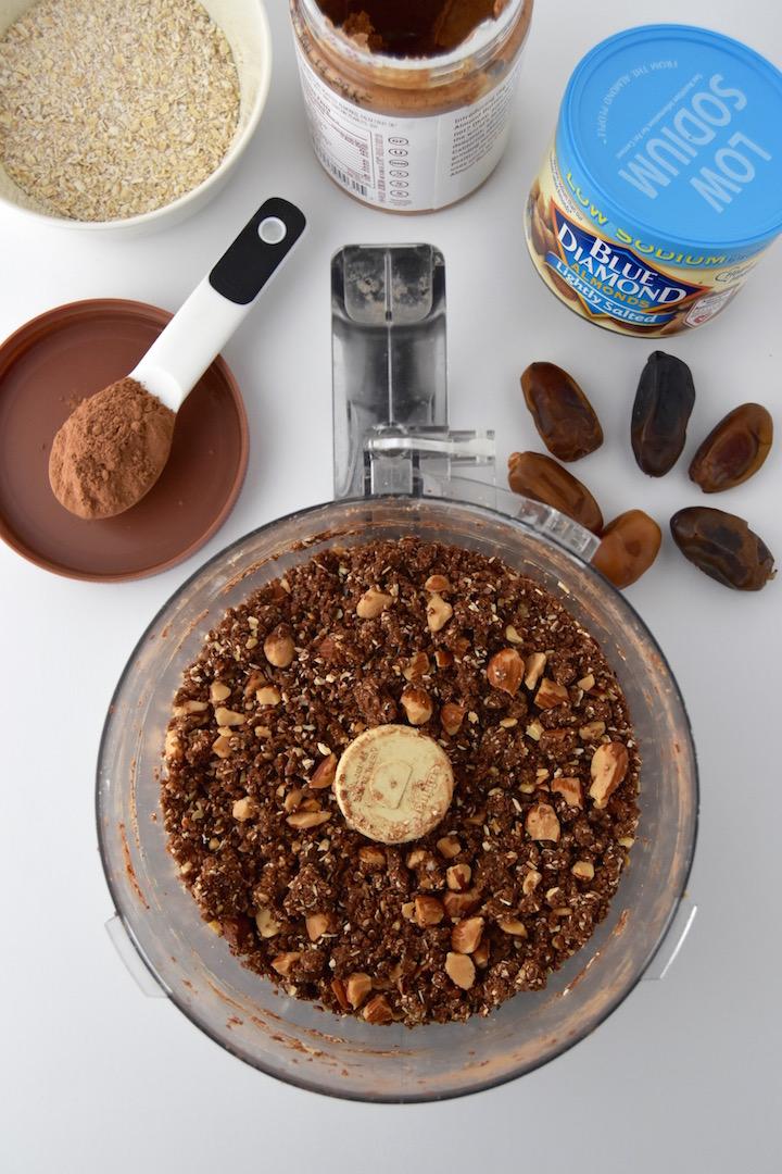 Ingredients for Almond Fudge Brownie Energy Bites