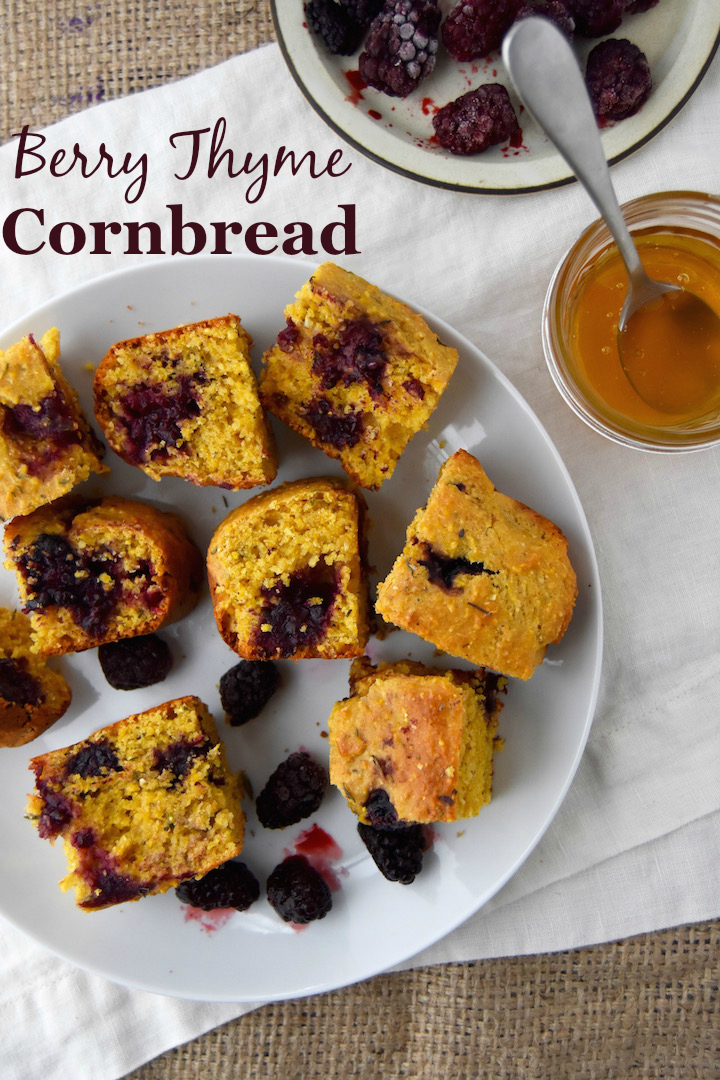 This Berry Thyme Cornbread is the perfect summer side dish for barbecues, picnics, and dinners on the patio. | uprootkitchen.com