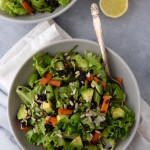 Leaf Lettuce Salad with Black Rice, Snap Peas and Avocado