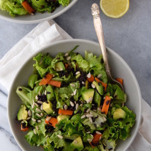 This Leaf Lettuce Salad with Black Rice, Snap Peas and Avocado is a great vegan lunch salad packed with veggies, whole grains, and satisfying fats   uprootkitchen.com