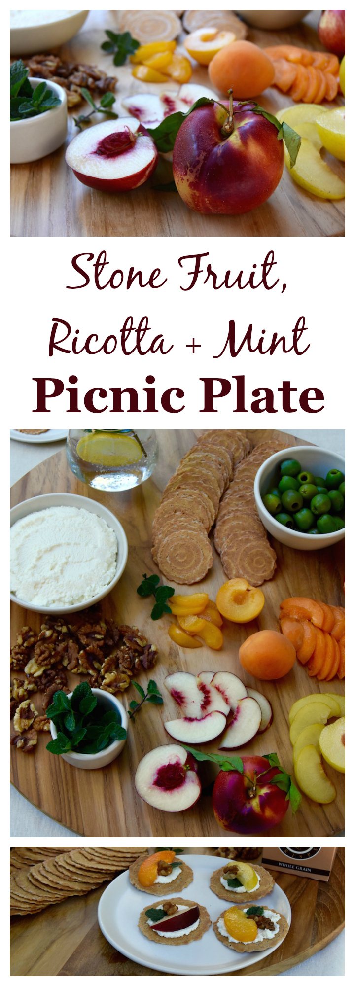 A simple combination of summer flavors, this Stone Fruit, Ricotta and Mint Picnic Plate is perfect for get togethers this summer. | uprootkitchen.com
