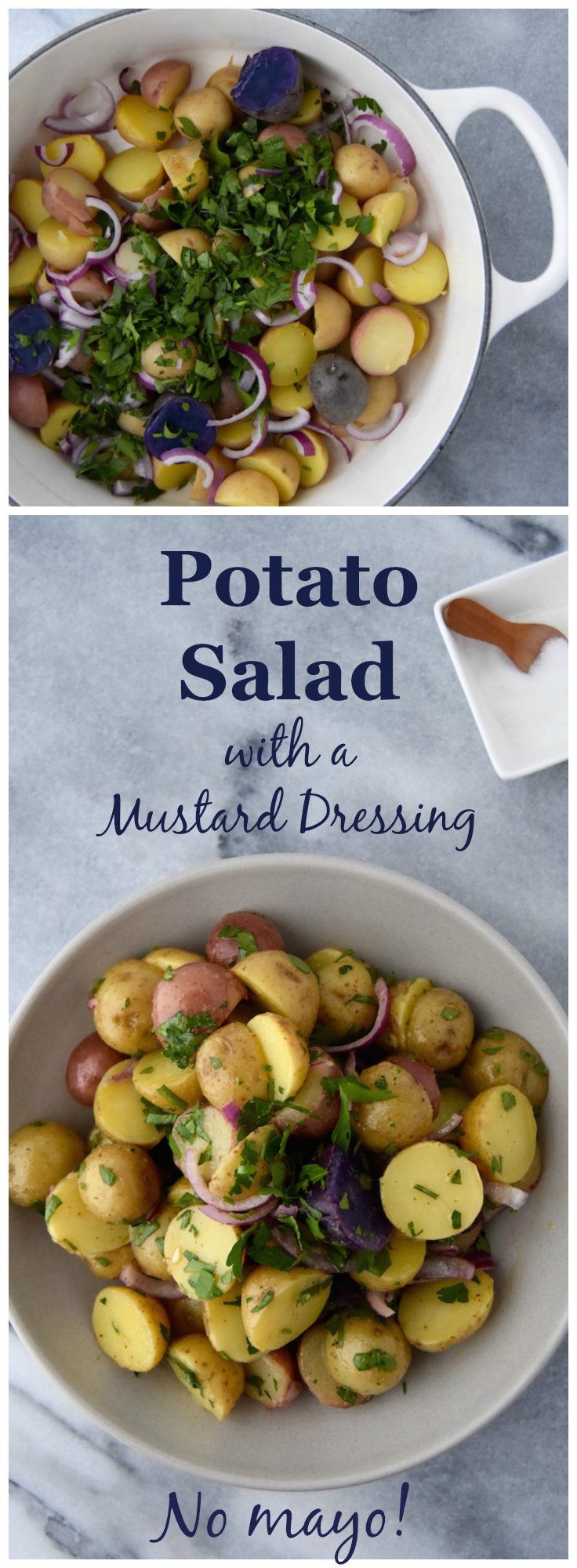 Potato Salad with a Mustard Dressing, perfect for BBQs or picnics where you want to let something sit out for awhile! | uprootkitchen.com