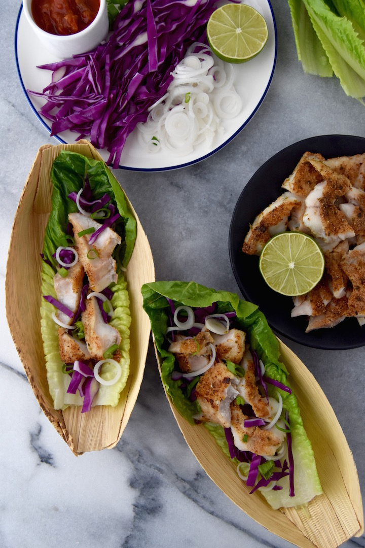 These Fish Taco Lettuce Wraps are a 20 minute healthy weeknight dinner idea. | uprootkitchen.com