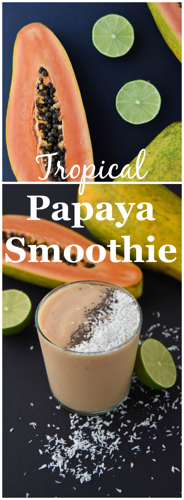 This Tropical Papaya Smoothie is a delicious and fresh summer sipper. | uprootkitchen.com