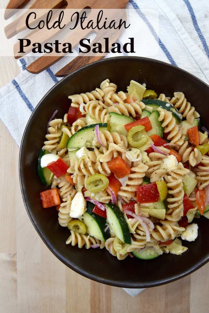 This Whole Wheat Cold Italian Pasta Salad is a healthier version than picnic staples, with whole wheat fusilli pasta. | uprootkitchen.com