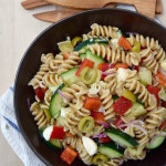 This Whole Wheat Cold Italian Pasta Salad is a healthier version than picnic staples. A homemade dressing completes this dish to share this summer.