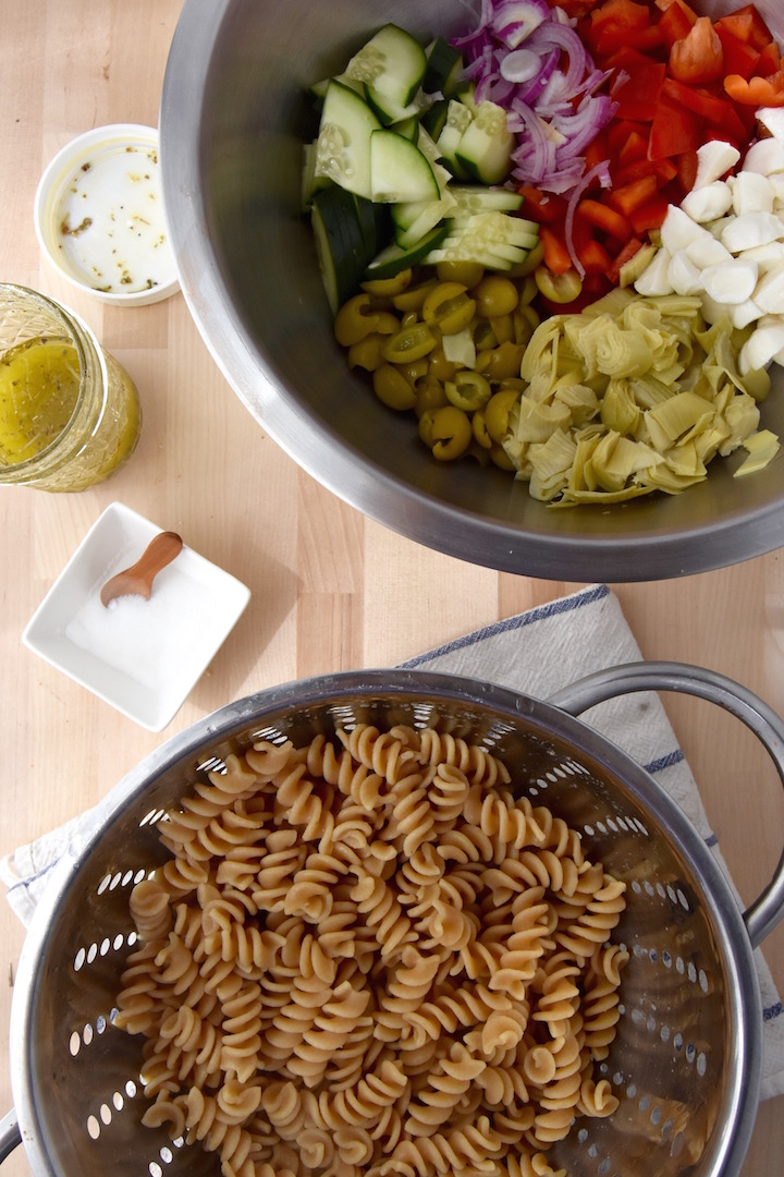 This Whole Wheat Cold Italian Pasta Salad is a healthier version. Perfect for picnics and BBQs! | uprootkitchen.com