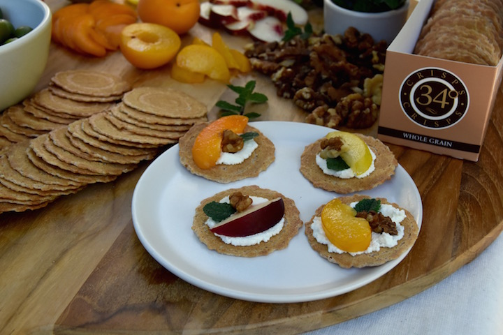 Wholegrain crisps paired with stone fruit, ricotta, mint and walnuts | uprootkitchen.com