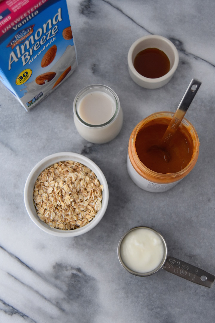 Ingredients for Peanut Butter Overnight Oats | uprootkitchen.com