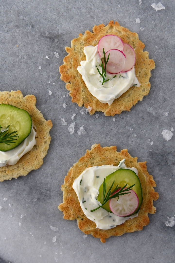 Whipped Dill Cream Cheese on Crisps | uprootkitchen.com