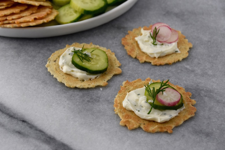 Whipped dill cream cheese with radishes, cucumbers, and flaky sea salt | uprootkitchen.com