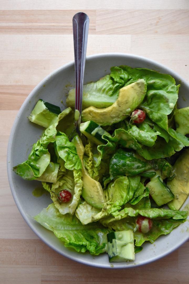 A simple Little Gem Salad with Basil Yogurt Dressing | uprootkitchen.com