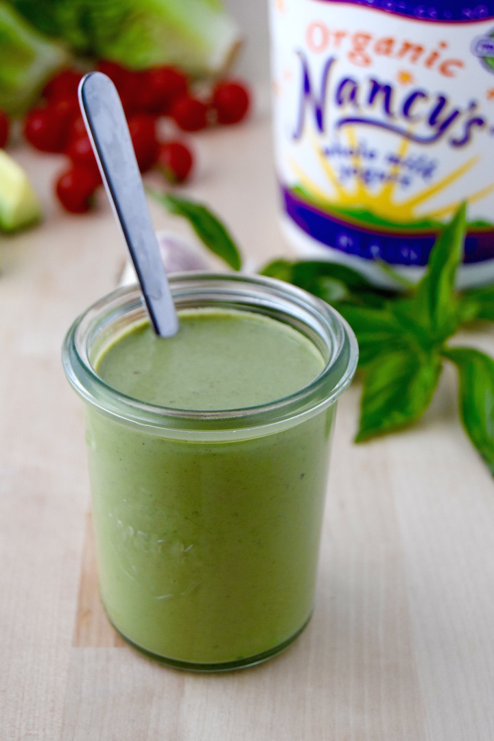 A simple recipe for Basil Yogurt Salad Dressing | uprootkitchen.com