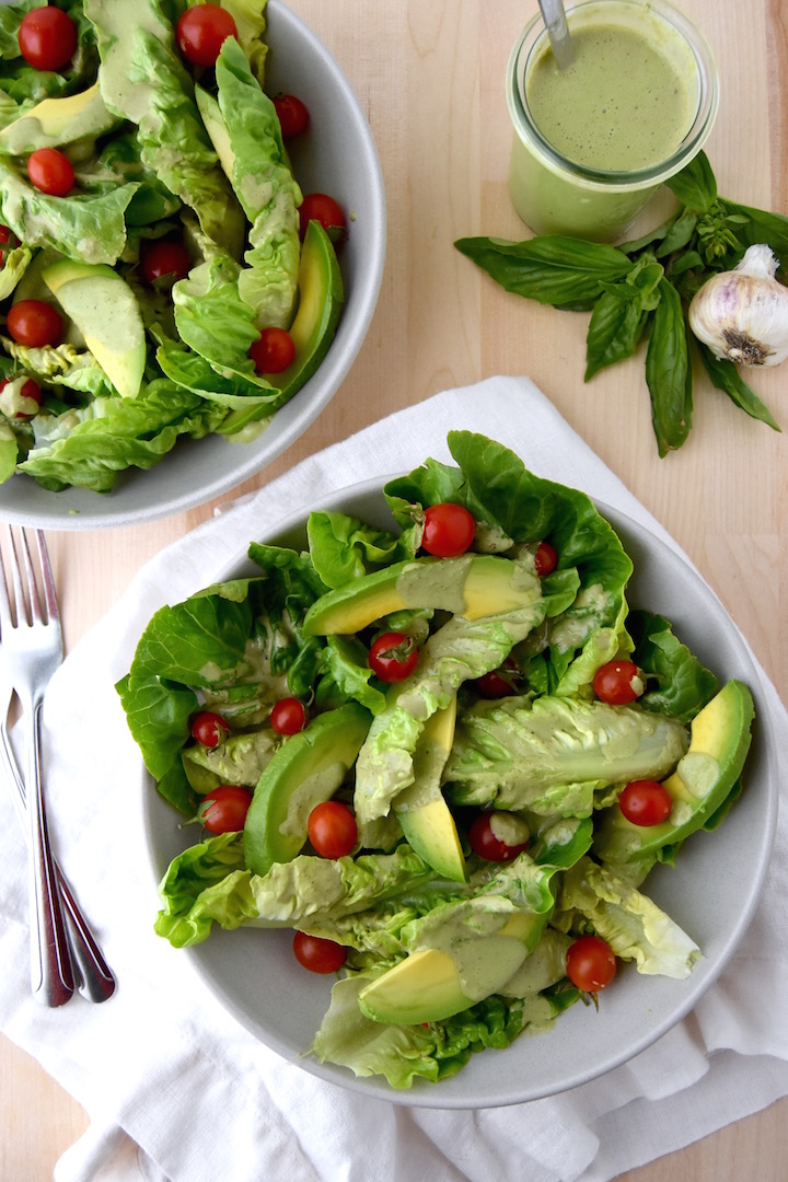This Little Gem Salad with Basil Yogurt Dressing is the perfect summer side dish or main meal. | uprootkitchen.com