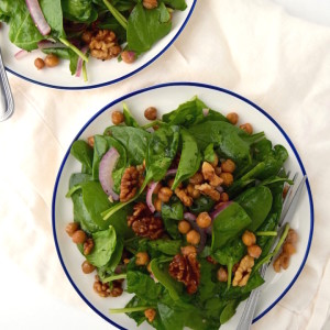 Warm Spinach Salad with Rosemary Roasted Walnuts and Crispy Chickpeas