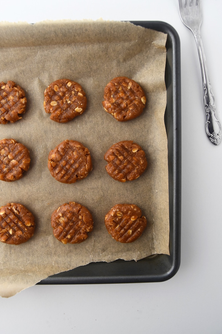 Wholesome Peanut Butter Oatmeal Cookies before baking