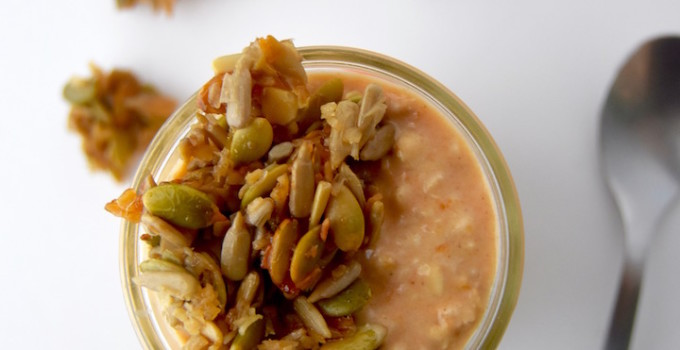 Pumpkin Overnight Oats with Sweet Seed Brittle