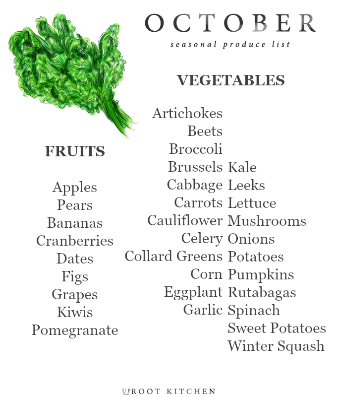 October Seasonal Produce List | uprootkitchen.com