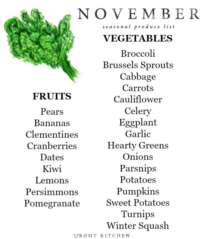 November Seasonal Produce List