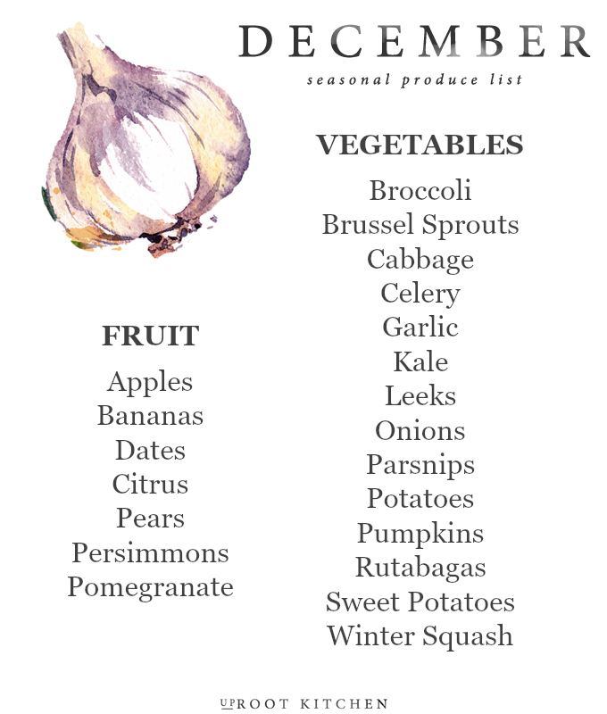 December Seasonal Produce List | uprootkitchen.com