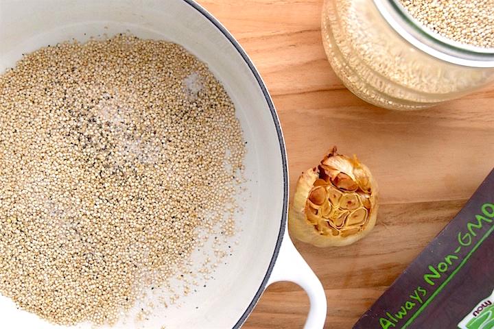 Roasted garlic quinoa ingredients | uprootkitchen.com