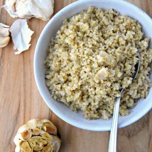 Simple Roasted Garlic Quinoa | uprootkitchen.com