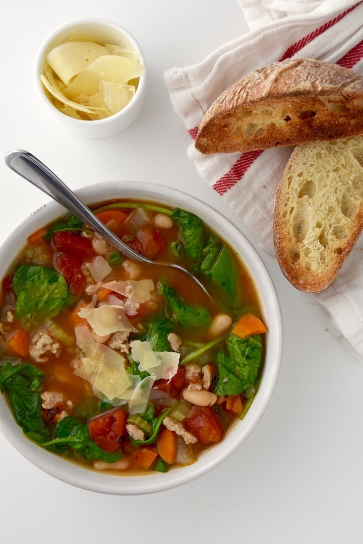 Italian Chicken Sausage Soup with Spinach