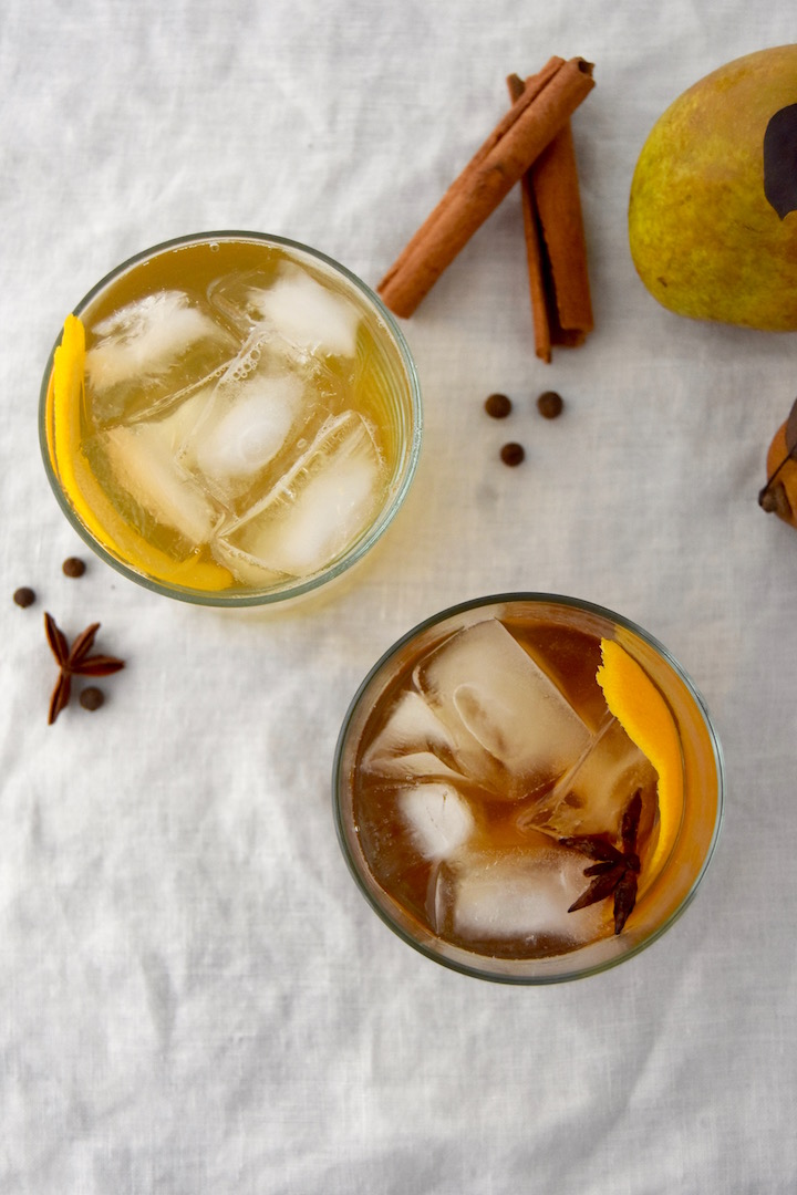 Spiced Pear Spritzer and Spiced Pear Old Fashioned